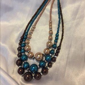 "Lot 3Pc 22"" Espresso Teal Blue Champagne Necklace"